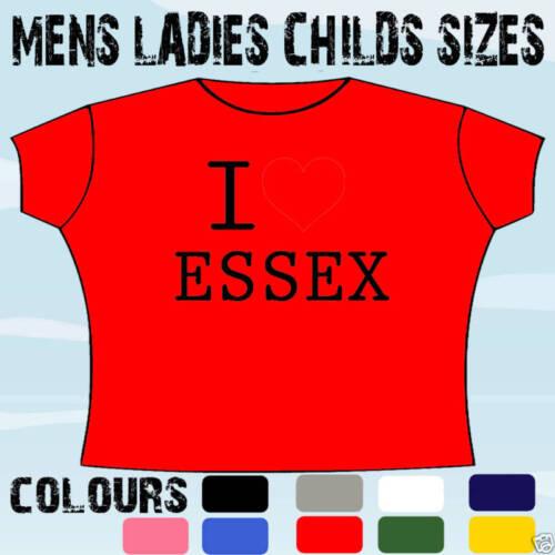 I love coeur Essex t-shirt toutes les tailles et couleurs