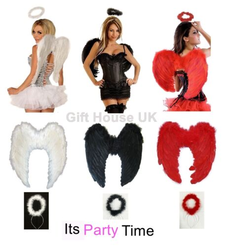 Angel Fairy Fancy Dress Feather Wings Halo Tutu Costume Outfit RED BLACK WHITE