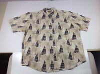 Mens L Shirt Natural Issue SAIL BOATS PALM TREES Wrinkle Free Cotton ShortSlv