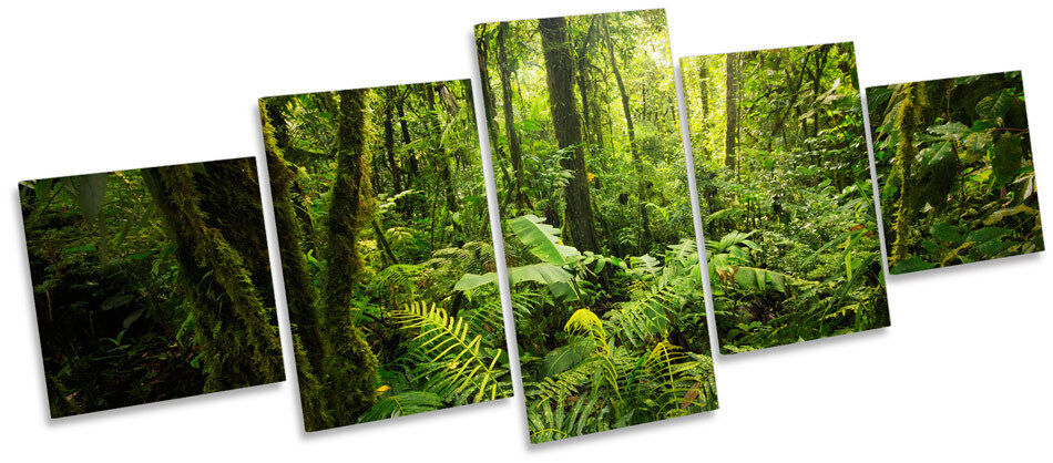 Forest Landscape Grün Trees CANVAS WALL ART Five Panel Print Picture