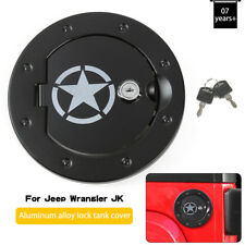 1941 Style Fuel Filler Cover Gas Tank Cap with Key fits 2007-18 Jeep Wrangler JK