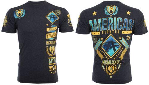 AMERICAN FIGHTER Mens T-Shirt LANDER Athletic BLACK YELLOW Biker Gym MMA UFC $40