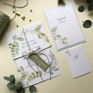 Luxury-Wedding-invitations-green-leaves-Wedding-Invites-modern-design
