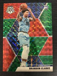 Brandon-Clarke-RC-SP-2019-20-Mosaic-Choice-RED-and-GREEN-Prizm-207-Rookie