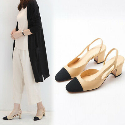 Pumps Womens Two-tone Leather Slingbacks Sandals Block heels Spring  Shoes Vogue