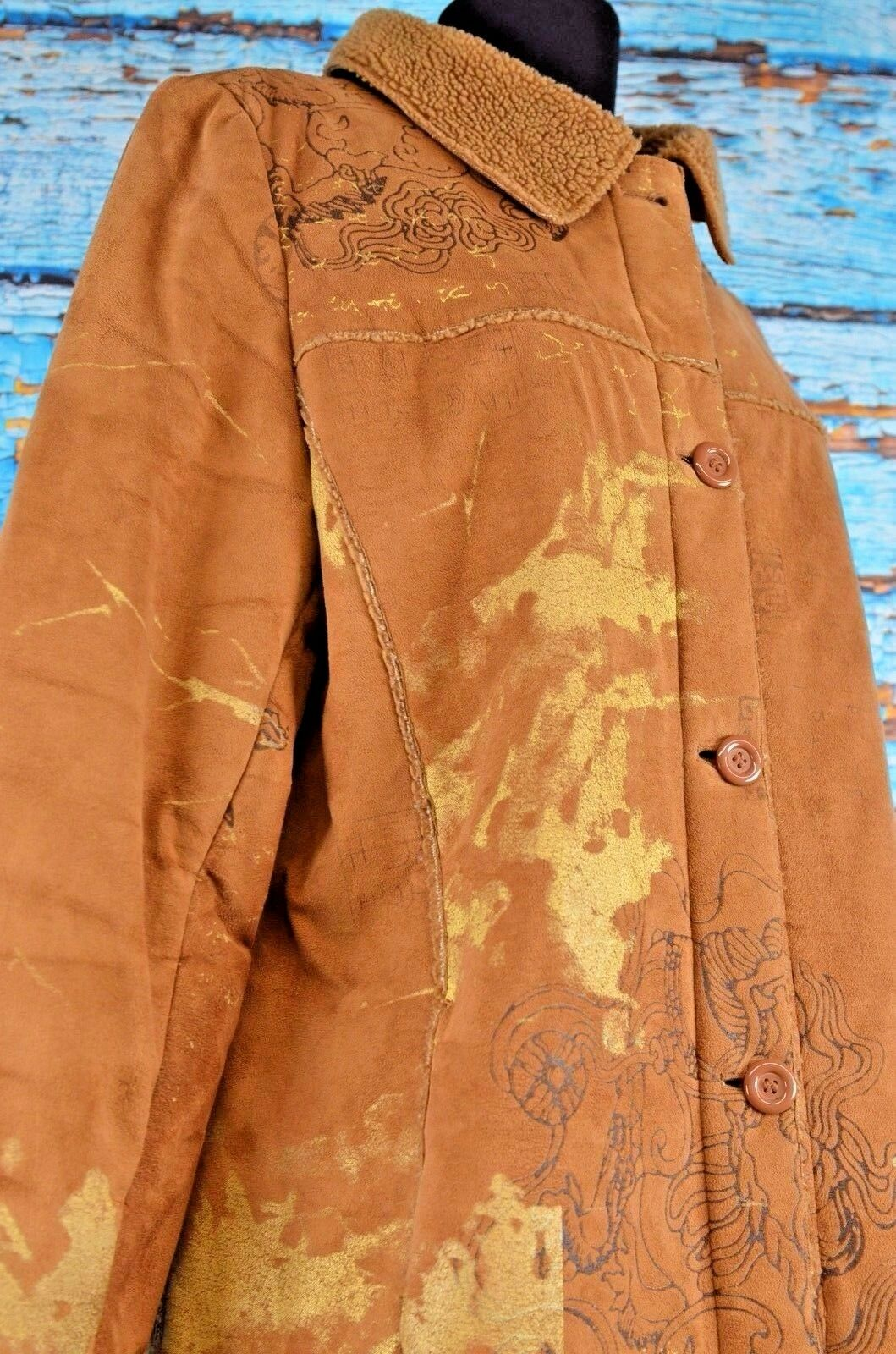 Mechant Women's Coat Size Medium Brown Long Artsy Boho Boho Boho Quirky Cute Warm Casual 4fe2ea