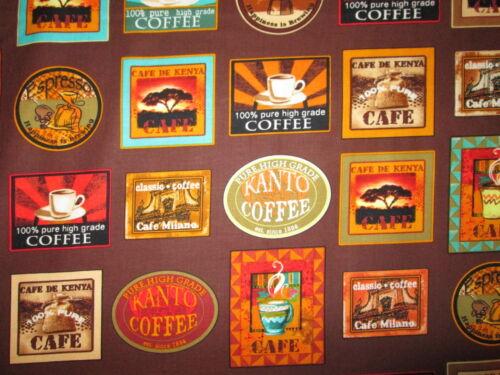 COFFEE BRANDS BLOCKS BROWN ORANGE COTTON FABRIC BTHY