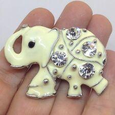 Vintage ELEPHANT BROOCH PIN Clear Rhinestone White Enamel Silver Tone Jewelry