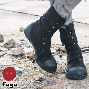 4893076611c Details about Black Fugu Sa-Me Unisex Japanese Work Shoes & Boots. Perfect  Burning Man Shoes