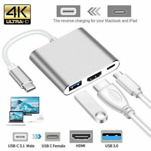 Type C USB 3.1 to USB-C HDMI 4K USB 3.0 HUB Cable Digital AV Multi Port Adapter
