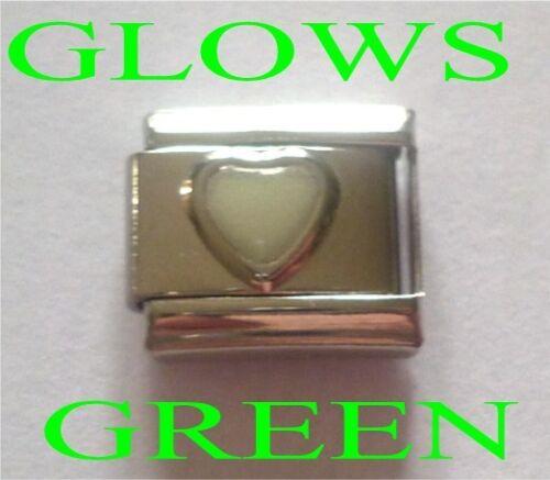 9mm Italian Charm E144 GLOW in the Dark Heart Fits Classic Size Bracelet
