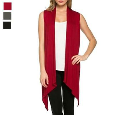 New Women Vest Knit Long Blouse Collar Draped Sleeveless Coat Top Cardigan Hot