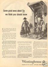 1940s vintage WWII Boy Scouts WAR DRIVE Metal Tin WESTINGHOUSE Appliance Art Ad