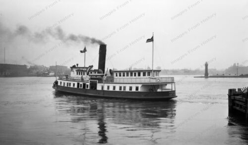 8x10 Print NYC 1934 Ferry Boat Single Stack Steamer #4050