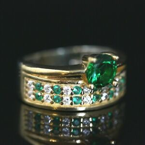 925-Sterling-Silver-Handmade-Authentic-Turkish-Emerald-Ladies-Ring-Size-7-12