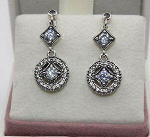 40a423d97 Image is loading AUTHENTIC-PANDORA-Vintage-Allure-Drop-Earrings -290722CZ-1455
