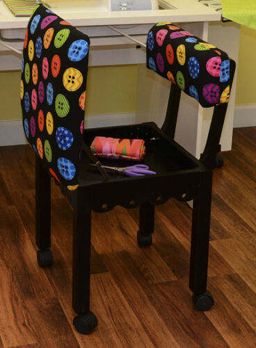 Arrow Sewing Chair with Button Fabric Craftroom Chair With Storage