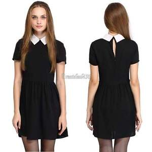 Black dress white collar and cuffs