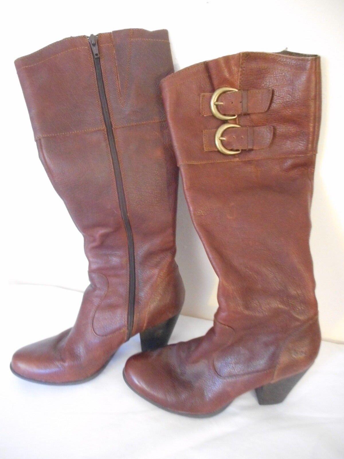 Born of Concept BOC Braun Leder 3.25 inch heel Boot Größe 6.5  buckle accents