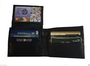 Bifold-Black-Wallet-Men-039-s-Genuine-Leather-Credit-ID-Card-Holder-Slim-Purse-Gift