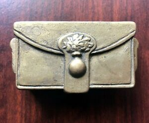 Antique-1920s-Solid-Brass-Lidded-Dual-Compartment-Stamp-Holder-Trinket-Box