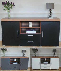 Large-2-Door-2-Drawer-Sideboard-Black-White-Grey-Cupboard-TV-Cabinet-Furniture