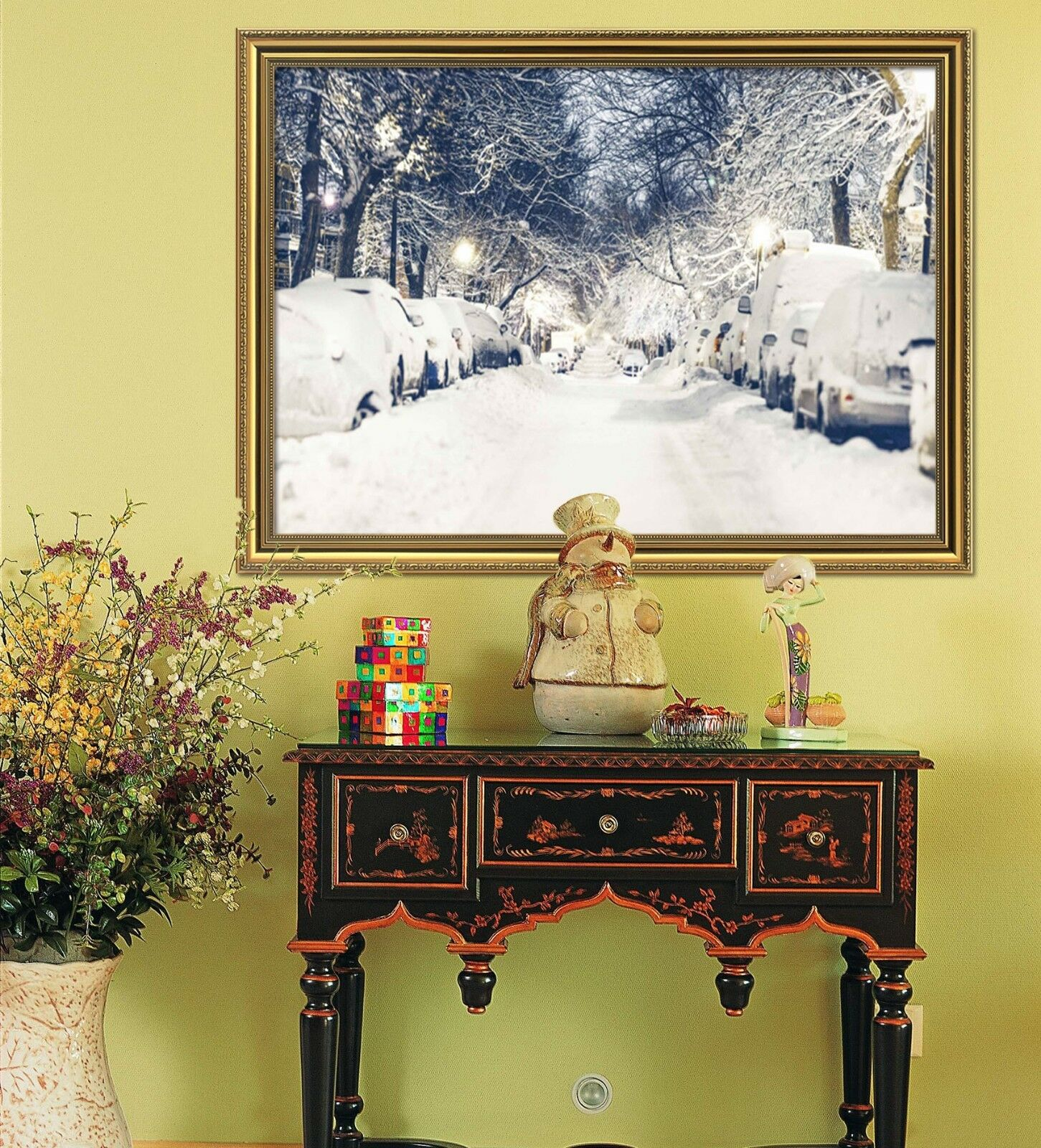 3D Snow Road 55 Framed Poster Home Decor Print Painting Art AJ WALLPAPER