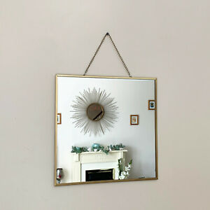 Vintage Square Chain Hanging Gold Frame Bathroom Shaving Glass Wall Decor Mirror Ebay
