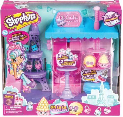 Shopkins MONDO Vacanza Oh la la MACARON CAFE /'Playset Inc 2 figure esclusive
