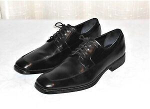 Image is loading Calvin-Klein-Elroy-Black-Leather-Dress-Oxford-Shoe-