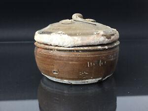 TEK SING Chinesische Porzellan karallierte Deckel-Dose braun grün Lasur um 1820