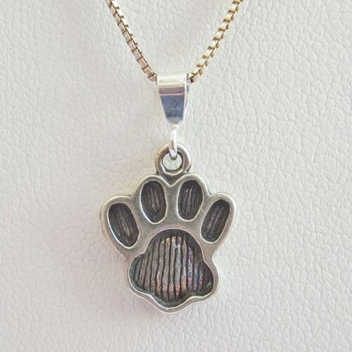 Paw Print Large Pendant Charm and Necklace Free Shipping Sterling Silver