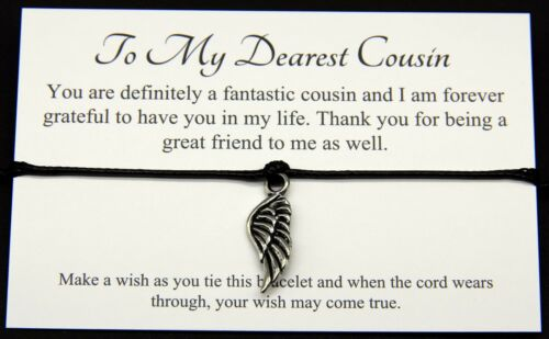 To My Dearest Cousin Wish Bracelet Birthday Christmas Special Gift pouch /&Card
