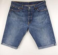 Vintage Levis 501 Denim Shorts Mens Faded Dark Blue Distressed Turn Ups W35.5