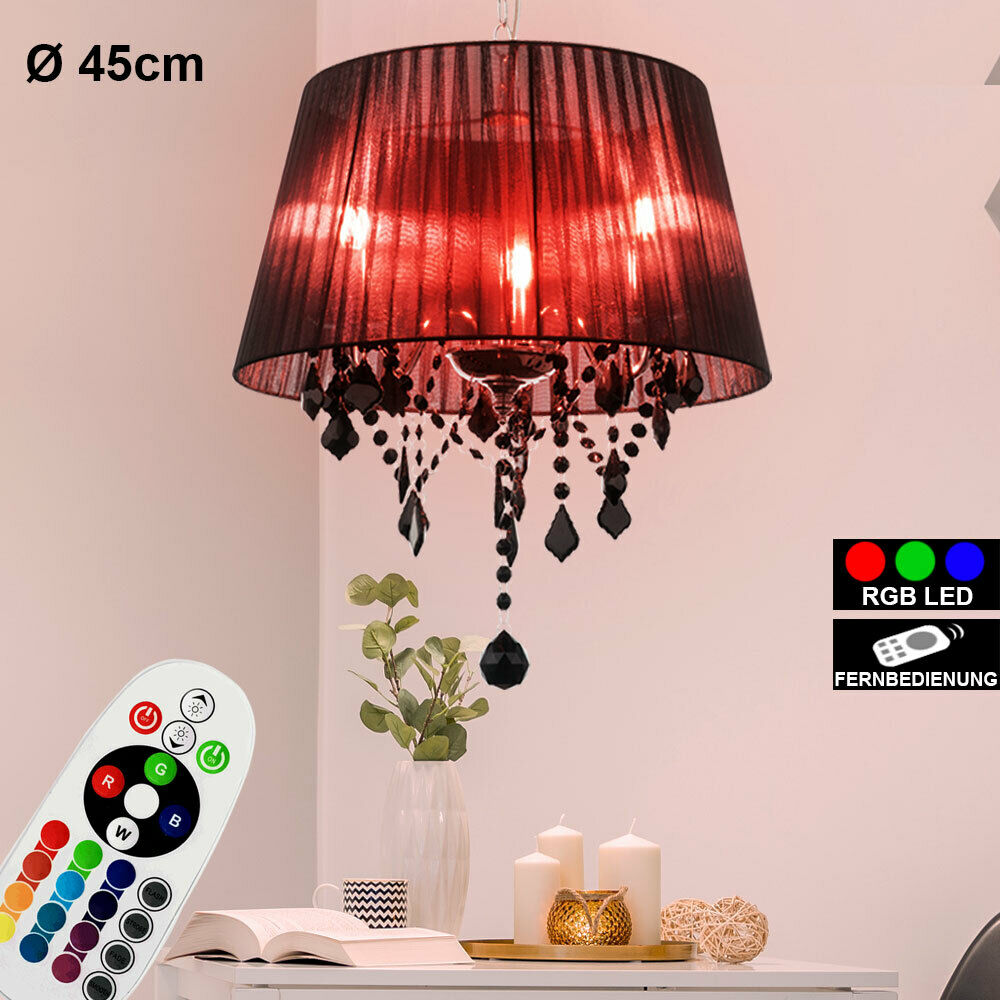 RGB LED pendant ceiling lamp remote control glass crystal textile lamp DIMMABLE