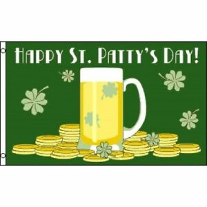 3x5-Happy-St-Patty-039-s-Patricks-Day-Flag-3-039-x5-039-house-banner-Beer-Gold-Shamrock