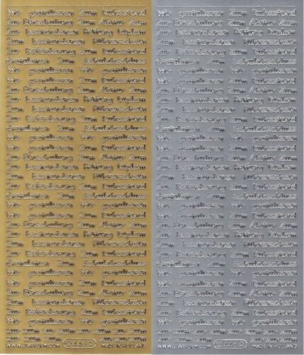 Glückwünsche sort Schule // Beruf Sticker in Gold oder Silber 10x23 cm