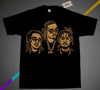 Nwt Fnly94 The 3 Migos  Black Gold shirt supreme rap group culture  S M L XL 3XL