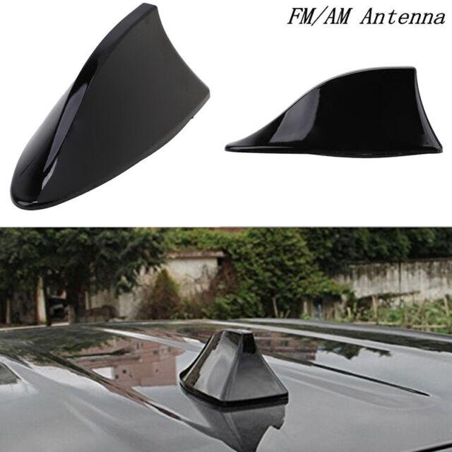 Black Universal Waterproof Self-Adhesive Shark Fin Shape FM//AM Radio Signal Receiving Antenna Elinala Car Shark Fin Antenna Car Decoration Antenna