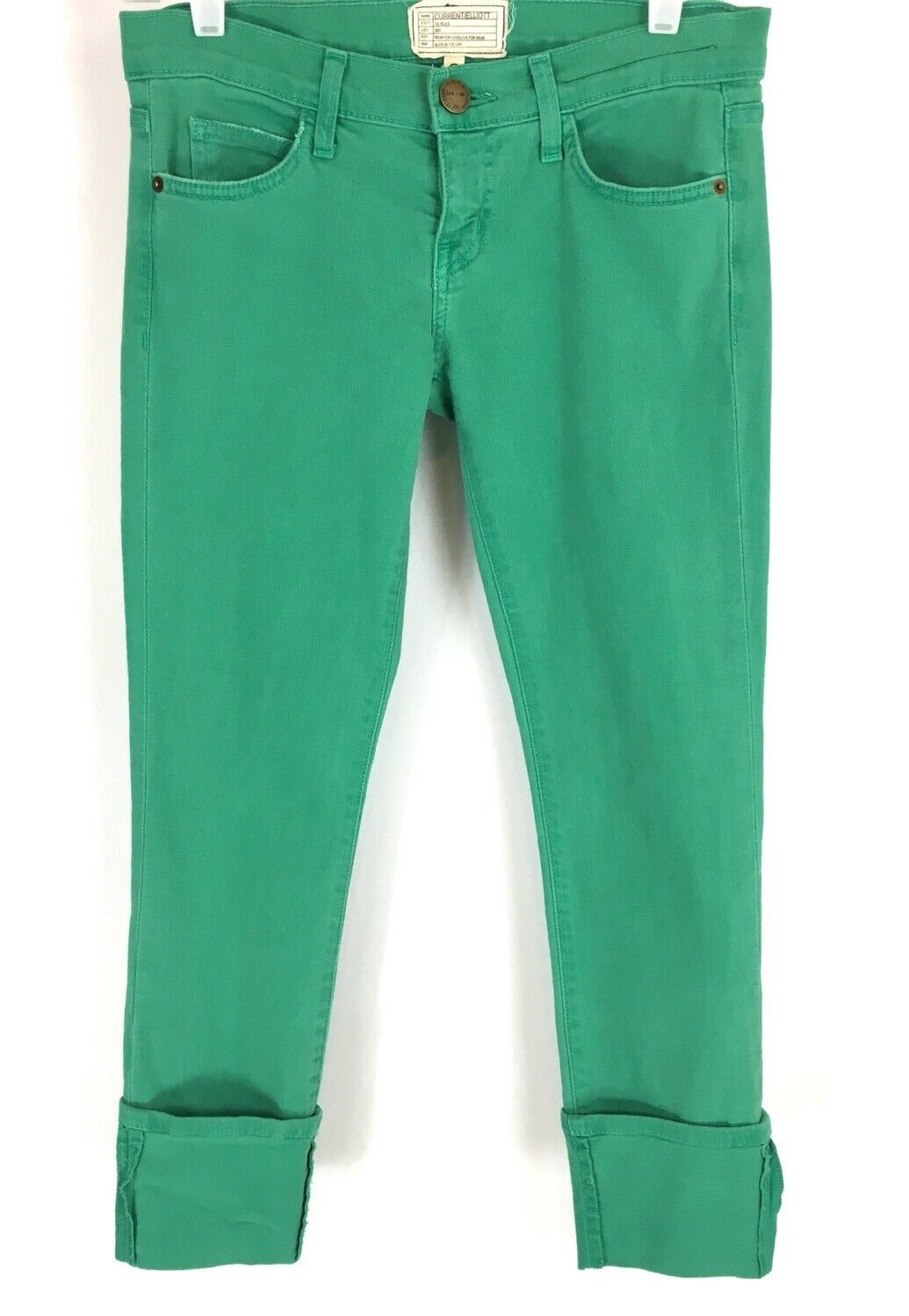 Current Elliott Womens The Beatnik Skinny Jeans Faded Alpine Green Size 25 NWT