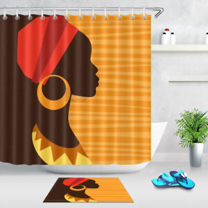 Image Is Loading African Girl Black Shower Curtain Liner Waterproof Fabric