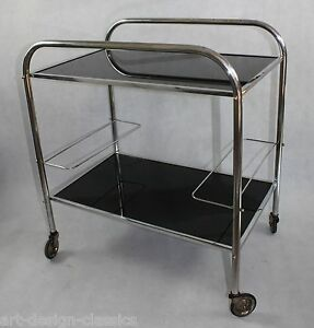 art deco servierwagen teewagen barwagen chrom bauhaus top ebay. Black Bedroom Furniture Sets. Home Design Ideas