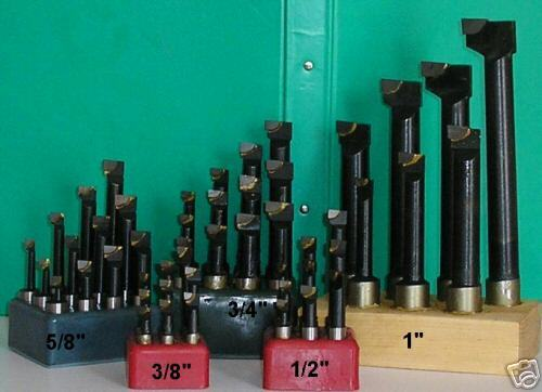 Set of 9 12mm Shank Carbide Tipped Boring Tools