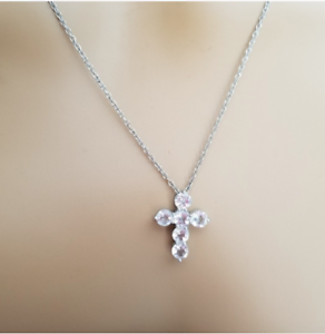 """925 Sterling Silver Cross Pendant Necklace 20""""  Religious Inspirational NWT"""