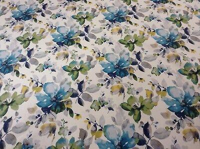 Flora Azul Verde Super Suave Terciopelo Cortina//Tela de tapicería