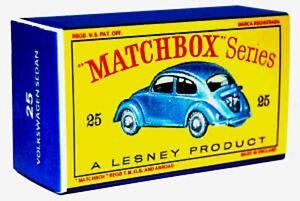 Matchbox-Lesney-No-25-VOLKSWAGEN-Sedan-empty-Repro-Box-style-D