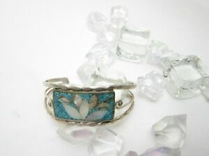 Pink shell open cuff bangle abalone shell cuff bracelet Mexican Alpaca silver bracelet signed Alpaca Mexico silver jewelry