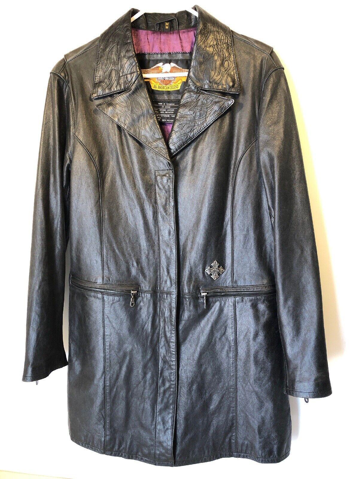 Harley Davidson chaqueta de cuero con  cuello de llama tamaño para mujer Talla Mediano Negro  sin mínimo