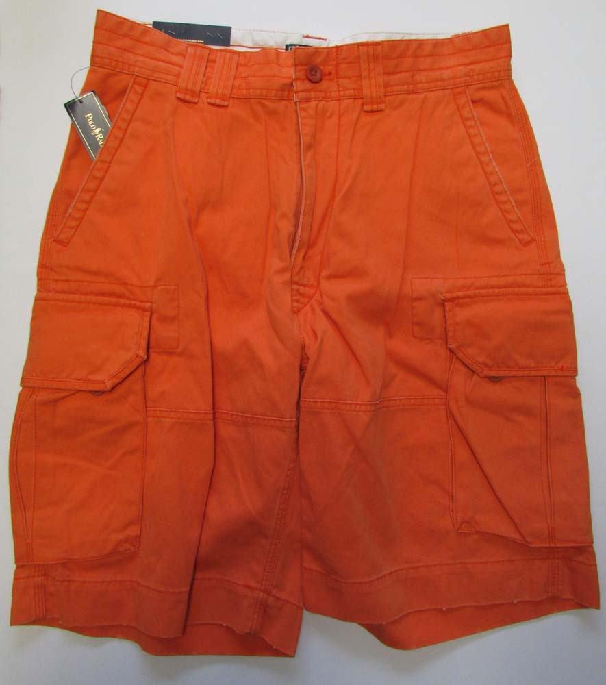 NWT POLO Ralph Lauren Cargo Shorts orange Size 31
