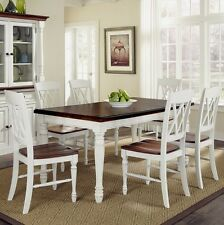 Farmhouse Dining Room Set 7 Piece Oak Table Chairs Leaf Casual Country  Kitchen